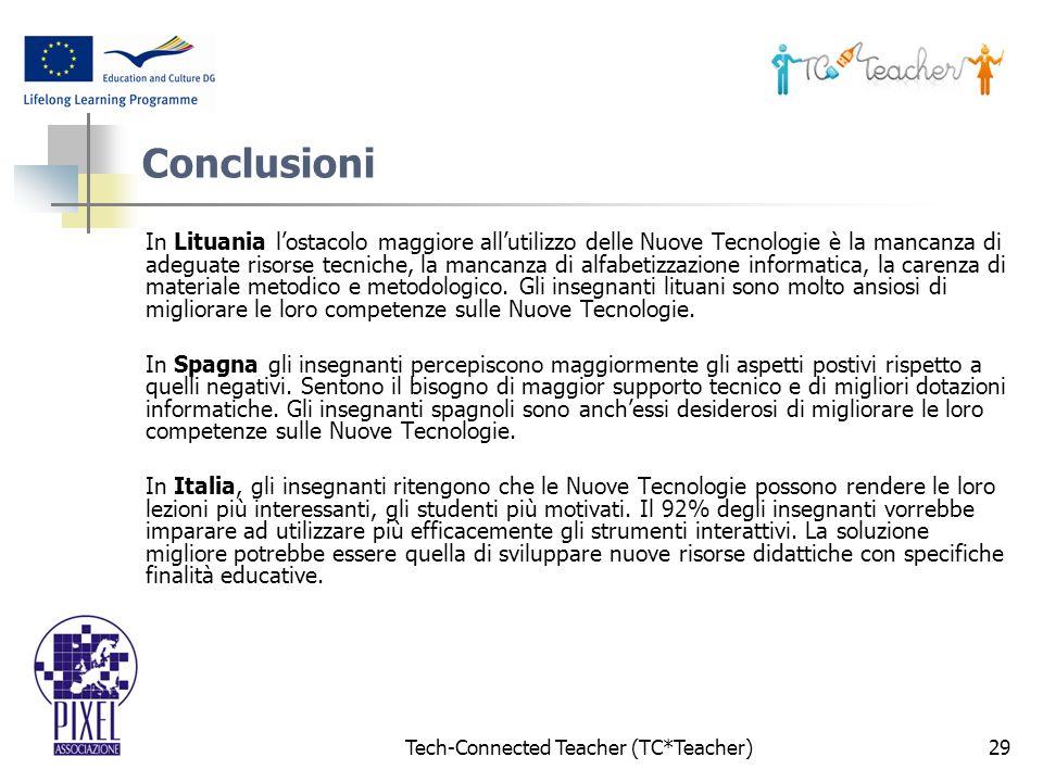 Tech-Connected Teacher (TC*Teacher)29 Conclusioni In Lituania lostacolo maggiore allutilizzo delle Nuove Tecnologie è la mancanza di adeguate risorse tecniche, la mancanza di alfabetizzazione informatica, la carenza di materiale metodico e metodologico.