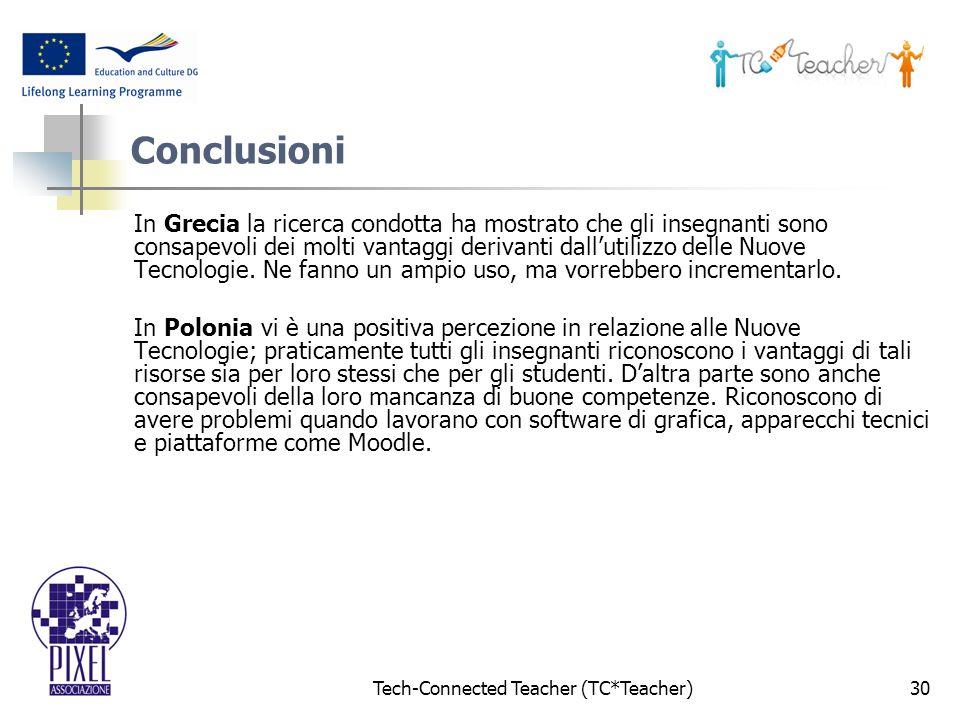 Tech-Connected Teacher (TC*Teacher)30 Conclusioni In Grecia la ricerca condotta ha mostrato che gli insegnanti sono consapevoli dei molti vantaggi derivanti dallutilizzo delle Nuove Tecnologie.