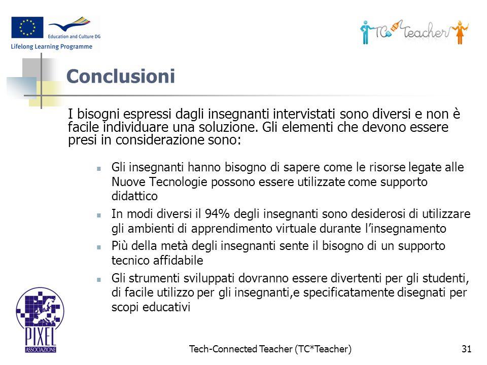 Tech-Connected Teacher (TC*Teacher)31 Conclusioni I bisogni espressi dagli insegnanti intervistati sono diversi e non è facile individuare una soluzione.