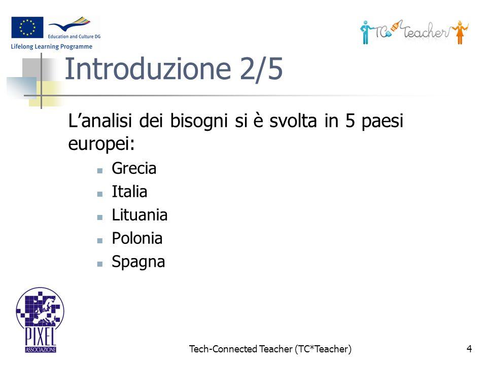 Tech-Connected Teacher (TC*Teacher)4 Introduzione 2/5 Lanalisi dei bisogni si è svolta in 5 paesi europei: Grecia Italia Lituania Polonia Spagna