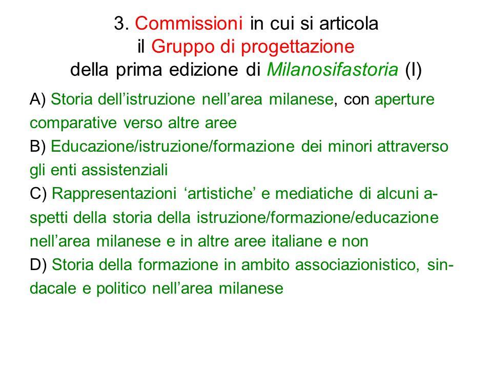3. Commissioni in cui si articola il Gruppo di progettazione della prima edizione di Milanosifastoria (I) A) Storia dellistruzione nellarea milanese,