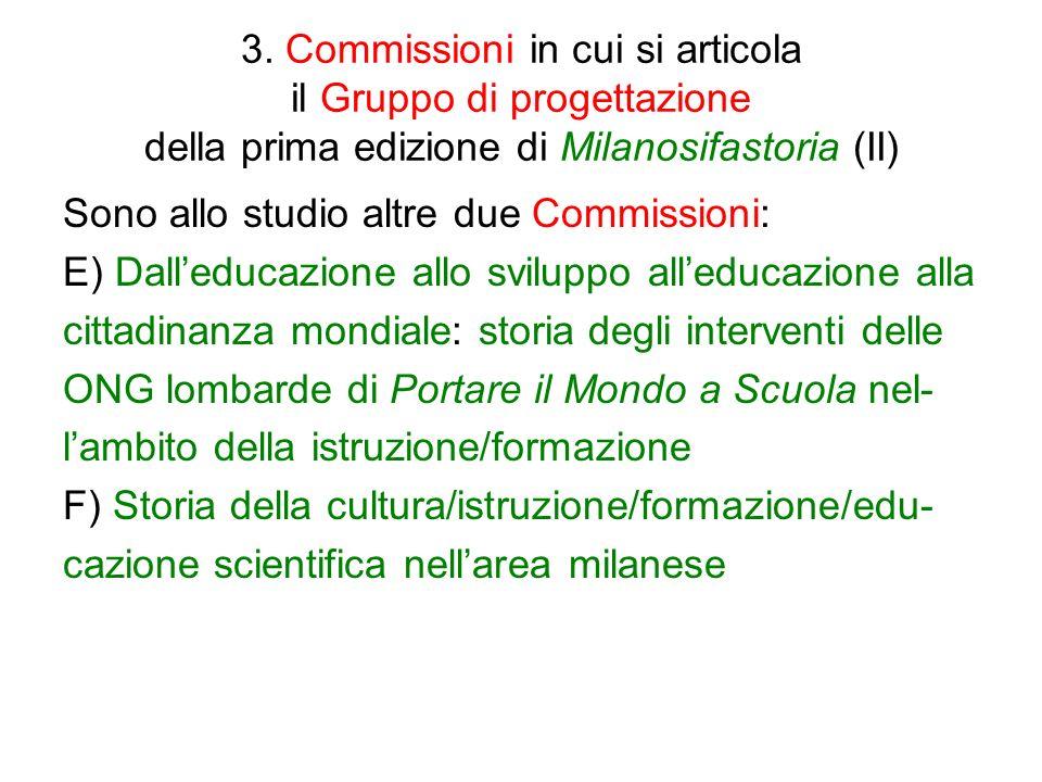 3. Commissioni in cui si articola il Gruppo di progettazione della prima edizione di Milanosifastoria (II) Sono allo studio altre due Commissioni: E)