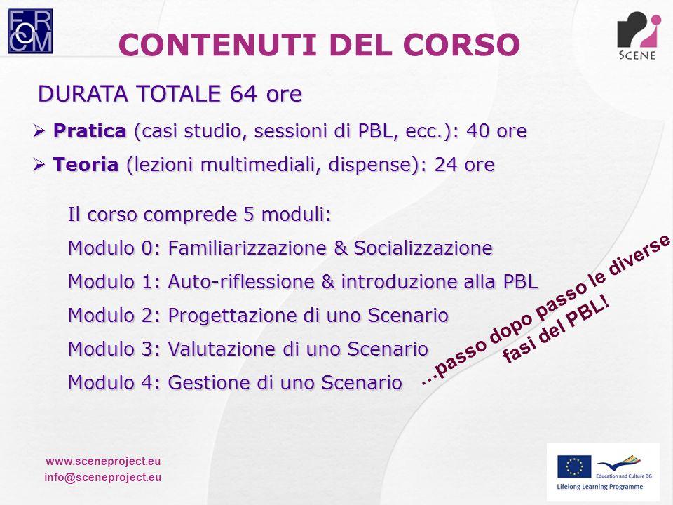 www.sceneproject.eu info@sceneproject.eu CONTENUTI DEL CORSO DURATA TOTALE 64 ore Pratica (casi studio, sessioni di PBL, ecc.): 40 ore Pratica (casi s