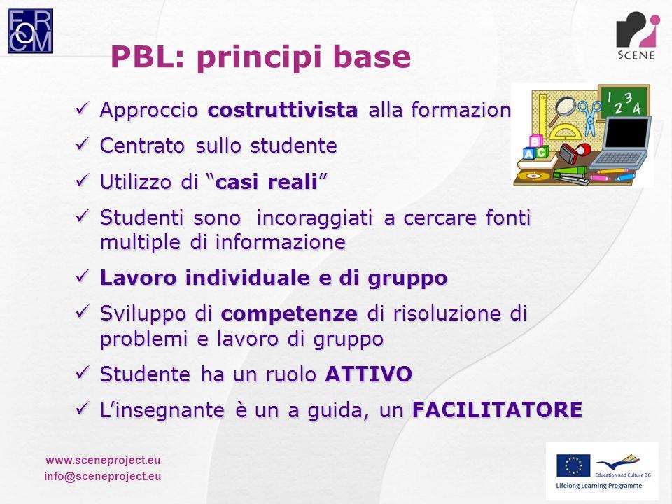 www.sceneproject.eu info@sceneproject.eu PBL: principi base Approccio costruttivista alla formazione Approccio costruttivista alla formazione Centrato
