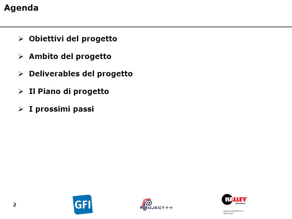 2 Agenda Obiettivi del progetto Ambito del progetto Deliverables del progetto Il Piano di progetto I prossimi passi