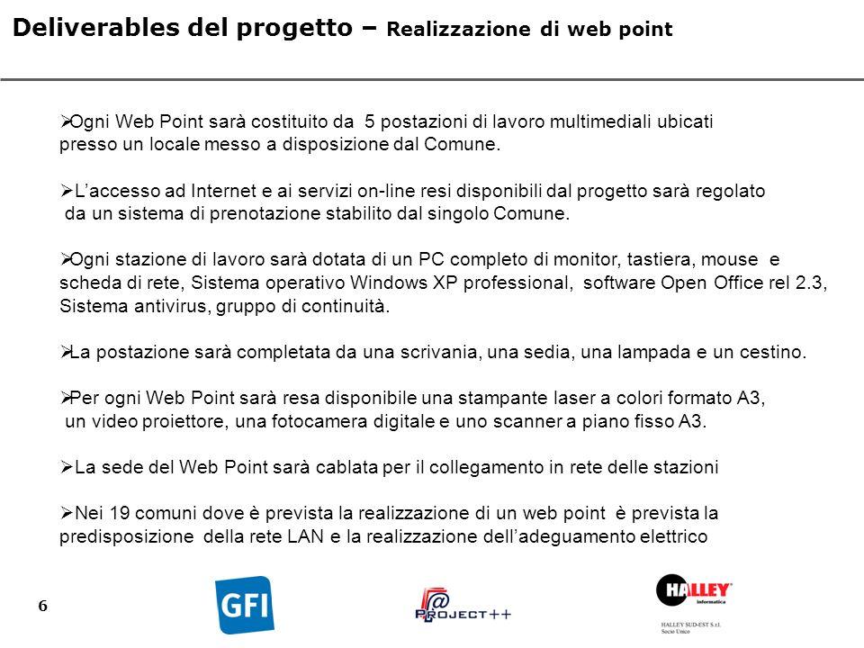 6 Deliverables del progetto – Realizzazione di web point Ogni Web Point sarà costituito da 5 postazioni di lavoro multimediali ubicati presso un locale messo a disposizione dal Comune.