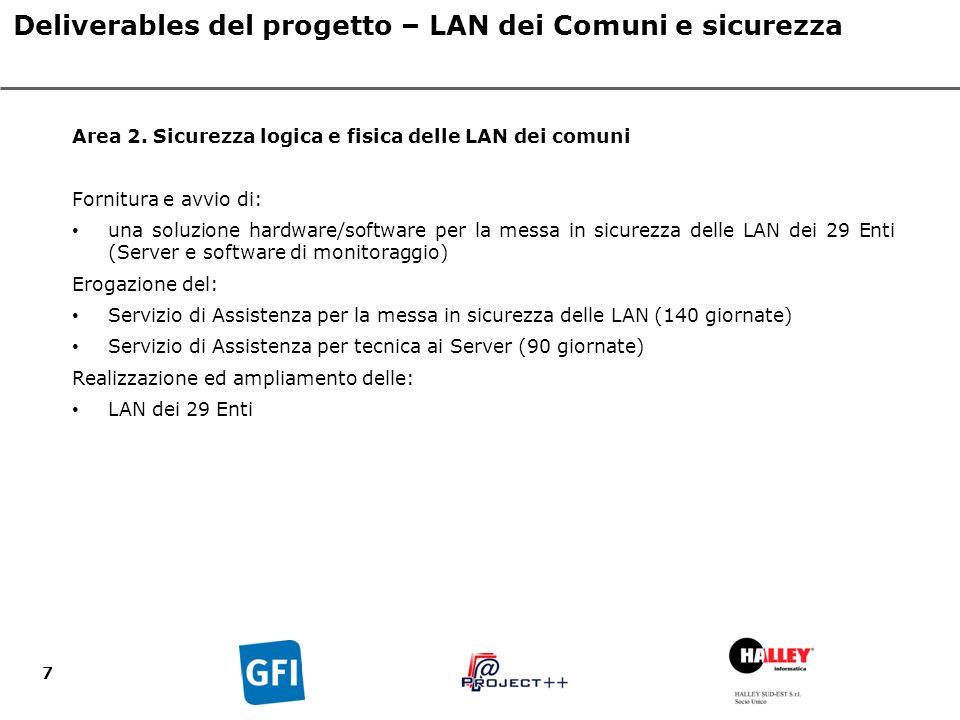 7 Deliverables del progetto – LAN dei Comuni e sicurezza Area 2.