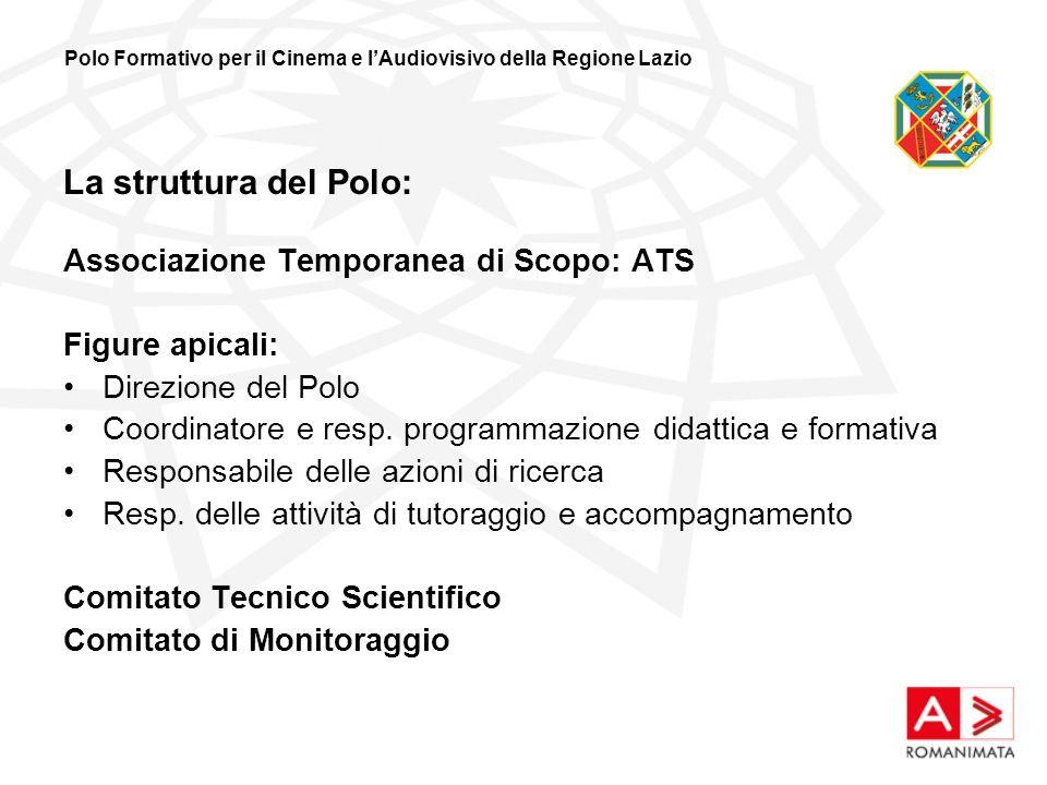 La struttura del Polo: Associazione Temporanea di Scopo: ATS Figure apicali: Direzione del Polo Coordinatore e resp.