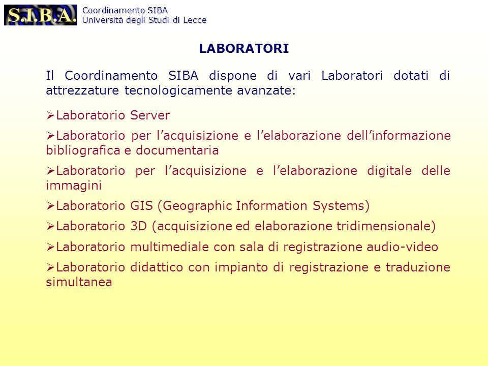 Coordinamento SIBA Università degli Studi di Lecce ciberlecce ******