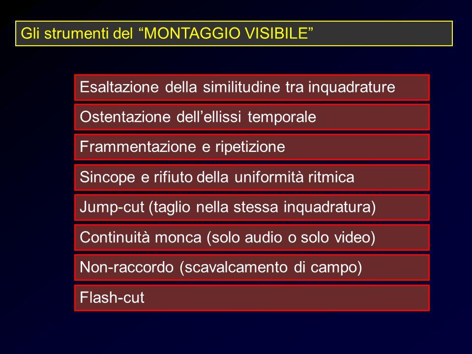 Strumenti montaggio visibile Gli strumenti del MONTAGGIO VISIBILE Esaltazione della similitudine tra inquadrature Ostentazione dellellissi temporale F