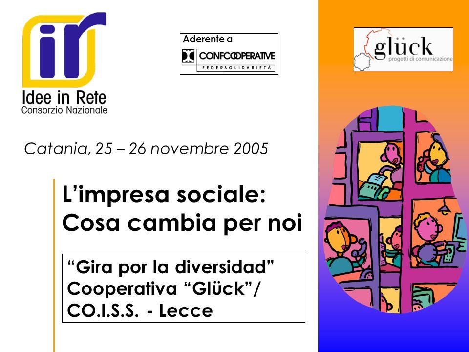 Aderente a Catania, 25 – 26 novembre 2005 Limpresa sociale: Cosa cambia per noi Logo cooperativa consorzio Gira por la diversidad Cooperativa Glück/ CO.I.S.S.