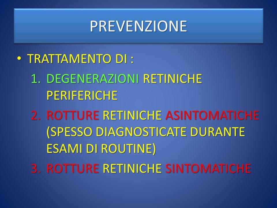 PREVENZIONEPREVENZIONE TRATTAMENTO DI : TRATTAMENTO DI : 1.DEGENERAZIONI RETINICHE PERIFERICHE 2.ROTTURE RETINICHE ASINTOMATICHE (SPESSO DIAGNOSTICATE