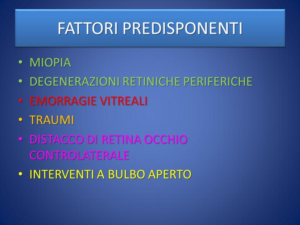 FATTORI PREDISPONENTI MIOPIA: FINO A 3 DIOTTRIE, RISCHIO 4 VOLTE MAGGIORE; MAGGIORE DI 3 DIOTTRIE: RISCHIO 10 VOLTE MAGGIORE MIOPIA: FINO A 3 DIOTTRIE, RISCHIO 4 VOLTE MAGGIORE; MAGGIORE DI 3 DIOTTRIE: RISCHIO 10 VOLTE MAGGIORE DISTACCO DI RETINA OCCHIO CONTROLATERALE: INCIDENZA DEL 13% CONTRO LO 0.01% (1300 VOLTE) DELLA POPOLAZIONE GENERALE, POICHE LE PATOLOGIE VITREORETINICHE SONO SPESSO BILATERALI DISTACCO DI RETINA OCCHIO CONTROLATERALE: INCIDENZA DEL 13% CONTRO LO 0.01% (1300 VOLTE) DELLA POPOLAZIONE GENERALE, POICHE LE PATOLOGIE VITREORETINICHE SONO SPESSO BILATERALI