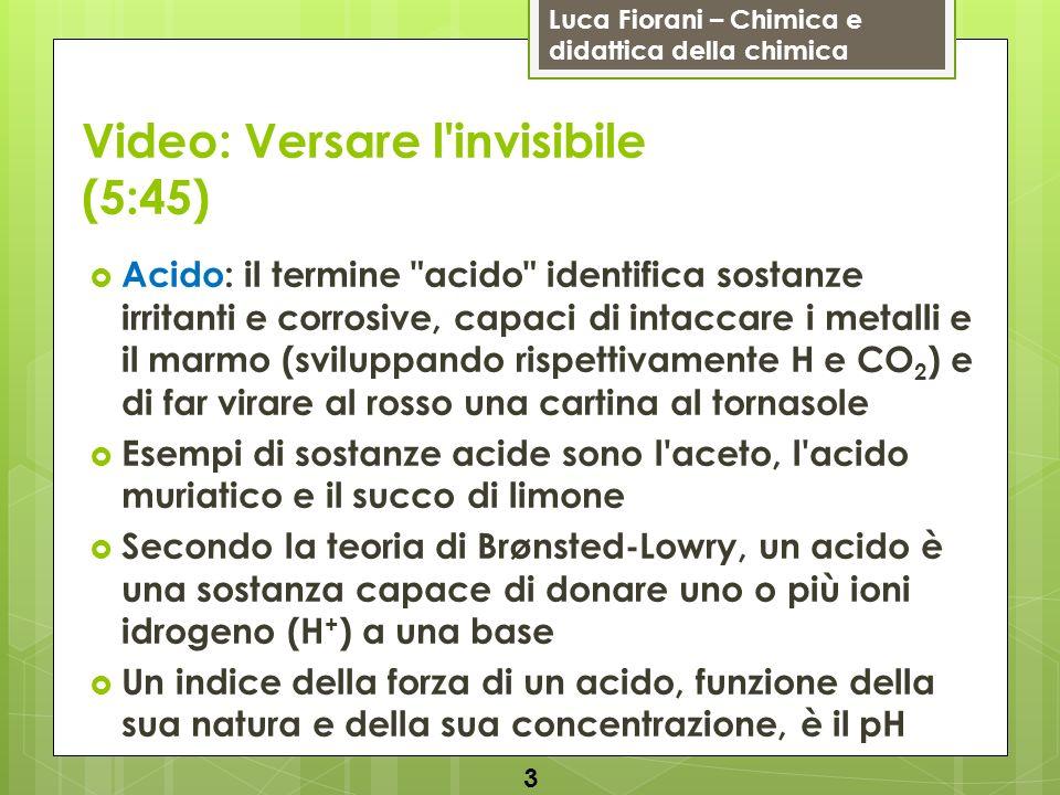 Luca Fiorani – Chimica e didattica della chimica Video: Versare l'invisibile (5:45) Acido: il termine