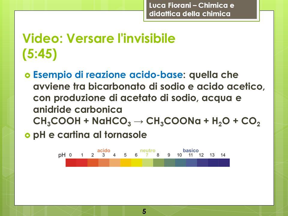 Luca Fiorani – Chimica e didattica della chimica Video: Versare l'invisibile (5:45) Esempio di reazione acido-base: quella che avviene tra bicarbonato