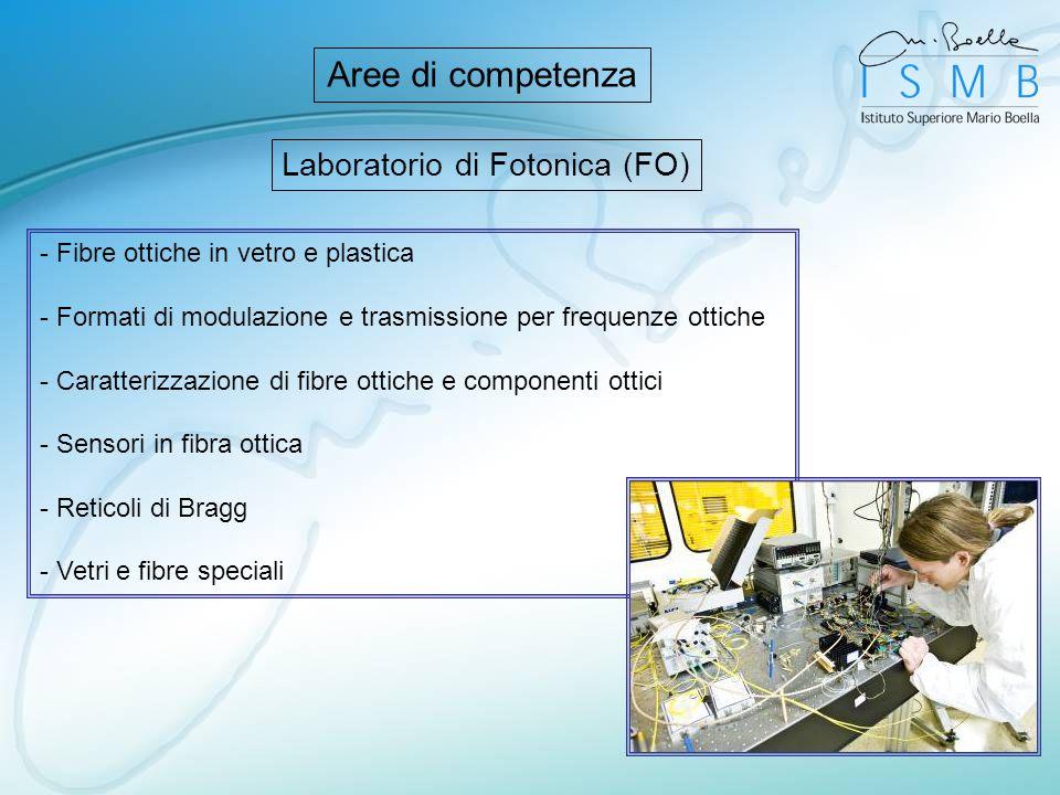 Laboratorio di Fotonica (FO) Aree di competenza - Fibre ottiche in vetro e plastica - Formati di modulazione e trasmissione per frequenze ottiche - Ca