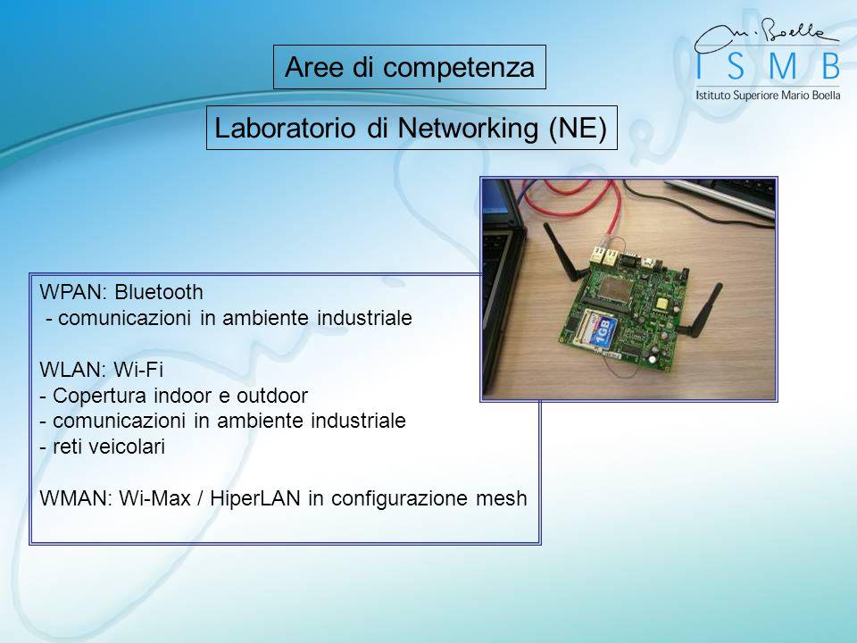 Laboratorio di Networking (NE) WPAN: Bluetooth - comunicazioni in ambiente industriale WLAN: Wi-Fi - Copertura indoor e outdoor - comunicazioni in amb