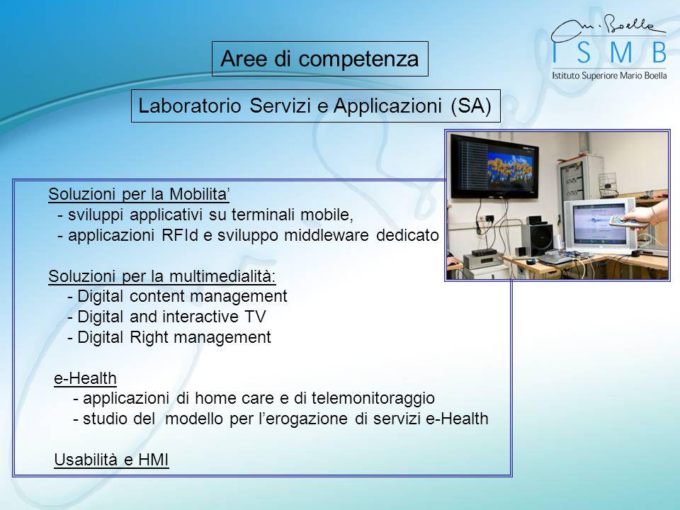 Laboratorio Servizi e Applicazioni (SA) Aree di competenza Soluzioni per la Mobilita - sviluppi applicativi su terminali mobile, - applicazioni RFId e