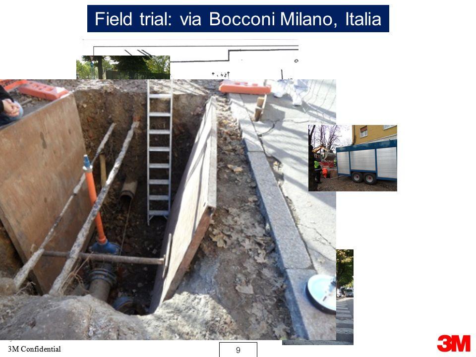 10 3M Confidential 10 3M Confidential 10 Field trial: via Bocconi Milano, Italia 1-Prima della pulizia 2-Canal jet 160bar