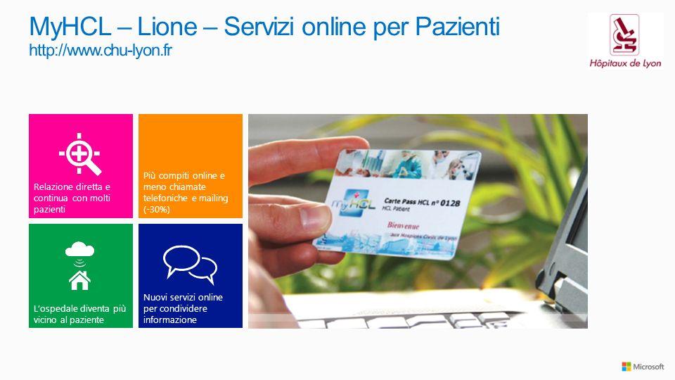 Nuovi servizi online per condividere informazione Lospedale diventa più vicino al paziente Più compiti online e meno chiamate telefoniche e mailing (-