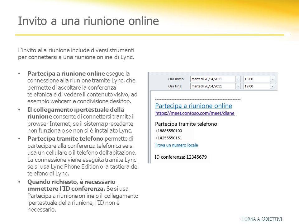 Invito a una riunione online Linvito alla riunione include diversi strumenti per connettersi a una riunione online di Lync. Partecipa a riunione onlin