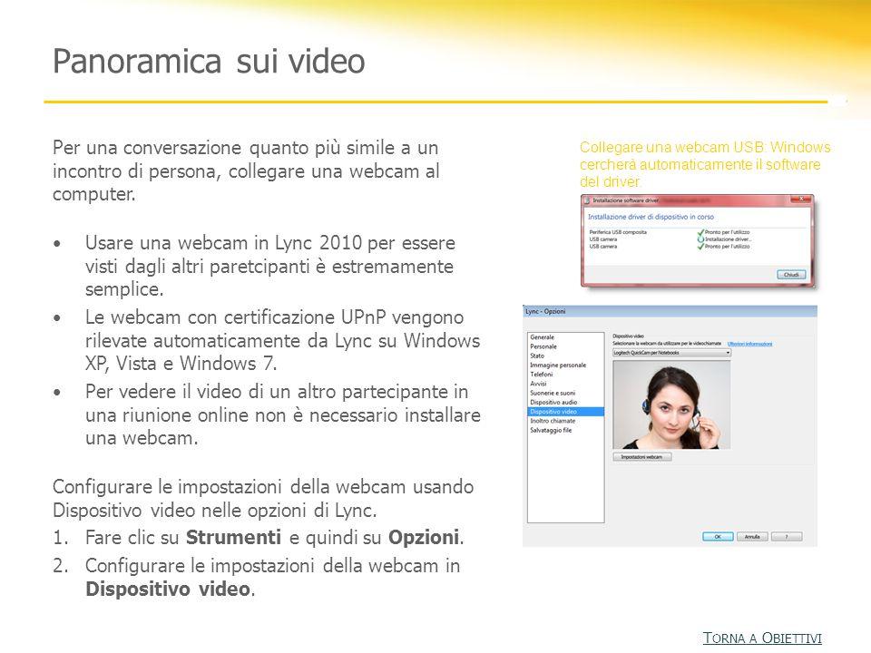 Panoramica sui video Per una conversazione quanto più simile a un incontro di persona, collegare una webcam al computer. Usare una webcam in Lync 2010