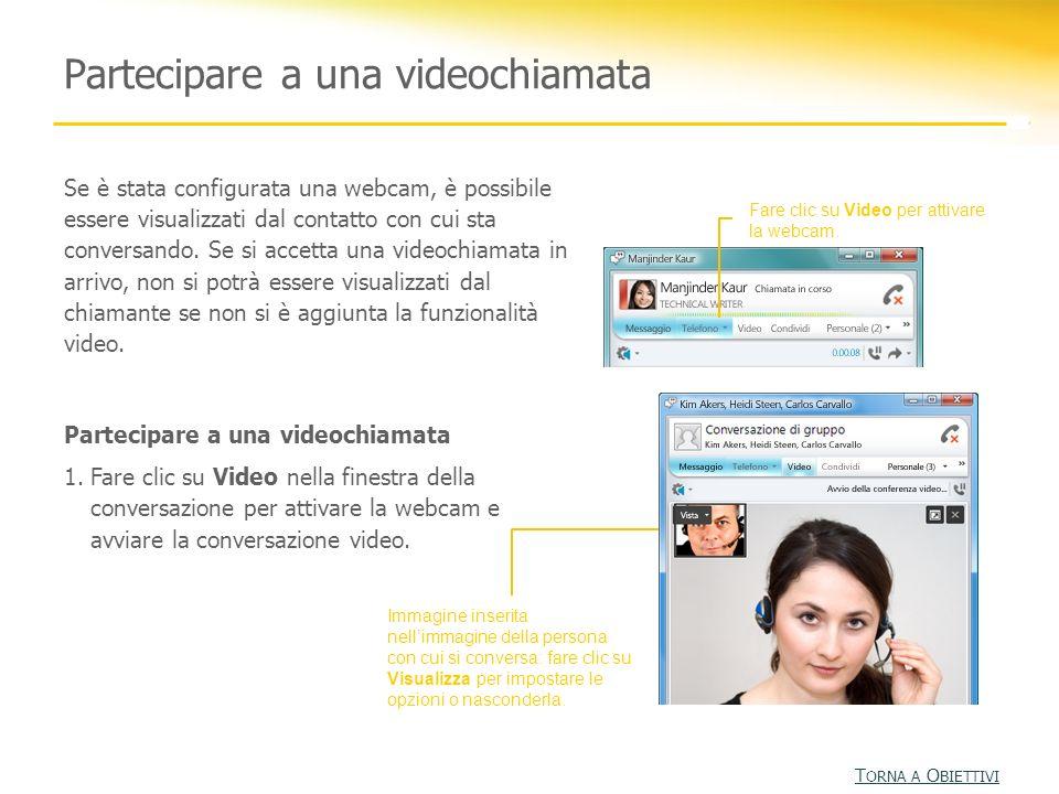 Partecipare a una videochiamata Fare clic su Video per attivare la webcam. Immagine inserita nellimmagine della persona con cui si conversa: fare clic