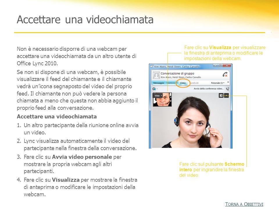 Non è necessario disporre di una webcam per accettare una videochiamata da un altro utente di Office Lync 2010. Se non si dispone di una webcam, è pos