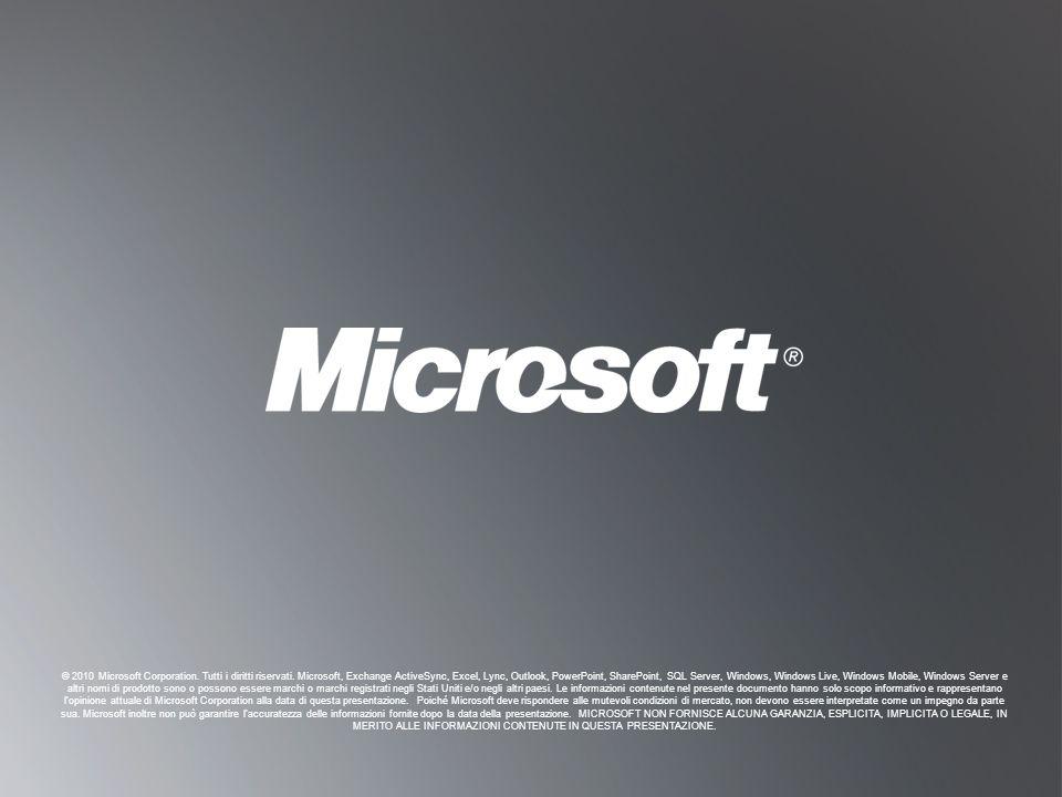 T ORNA A O BIETTIVI T ORNA A O BIETTIVI © 2010 Microsoft Corporation. Tutti i diritti riservati. Microsoft, Exchange ActiveSync, Excel, Lync, Outlook,