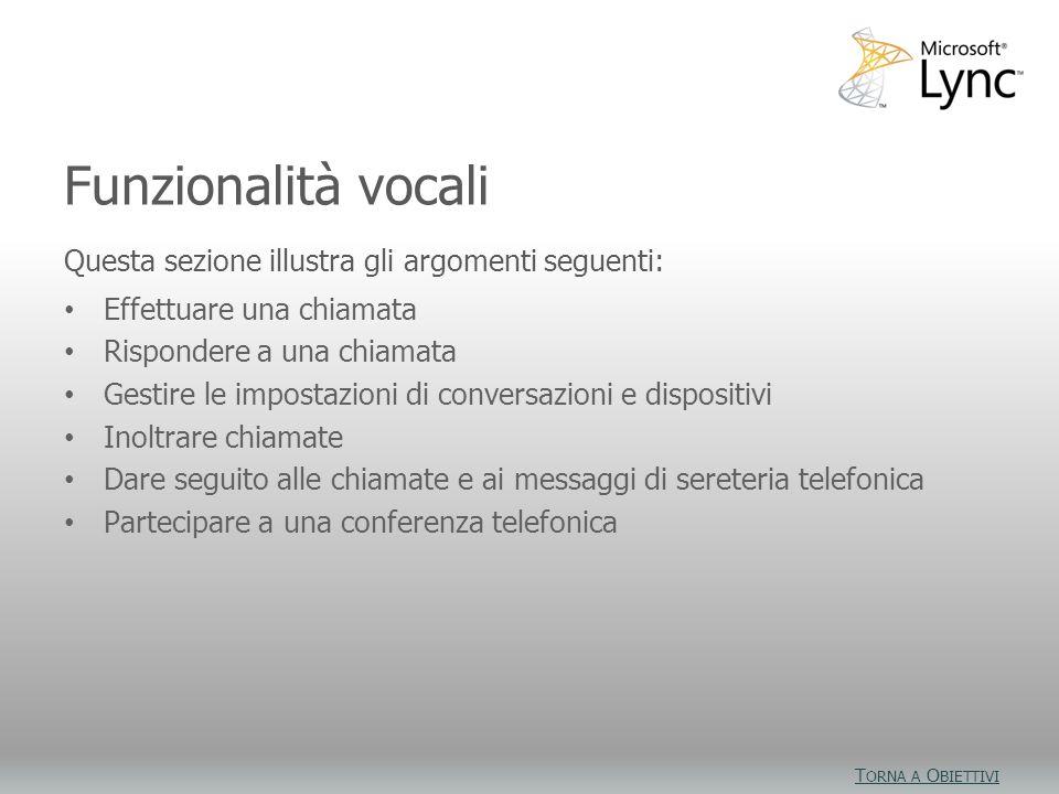Obiettivi video Questa sezione illustra gli argomenti seguenti: Effettuare una chiamata Rispondere a una chiamata Gestire le impostazioni di conversaz
