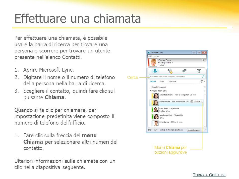 Fare clic su Chiama Lync 2010 include la caratteristica Chiamata con un clic.