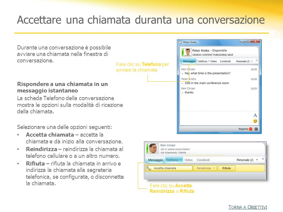 Accettare una chiamata duranta una conversazione Durante una conversazione è possibile avviare una chiamata nella finestra di conversazione. Risponder