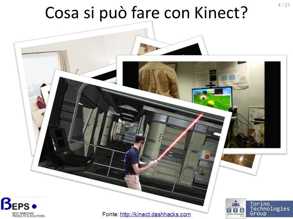 Windows Kinect SDK Microsoft Research ha rilasciato una versione beta del Kinect SDK per Windows il 16 giugno: http://research.microsoft.com/kinectsdk LSDK installa: i driver per i sensori Kinect API di programmazione C++ e.NET (C# / VB.NET) documentazione applicativi di esempio + codice sorgente Attenzione.