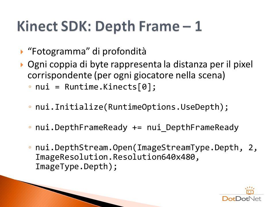 Fotogramma di profondità Ogni coppia di byte rappresenta la distanza per il pixel corrispondente (per ogni giocatore nella scena) nui = Runtime.Kinect