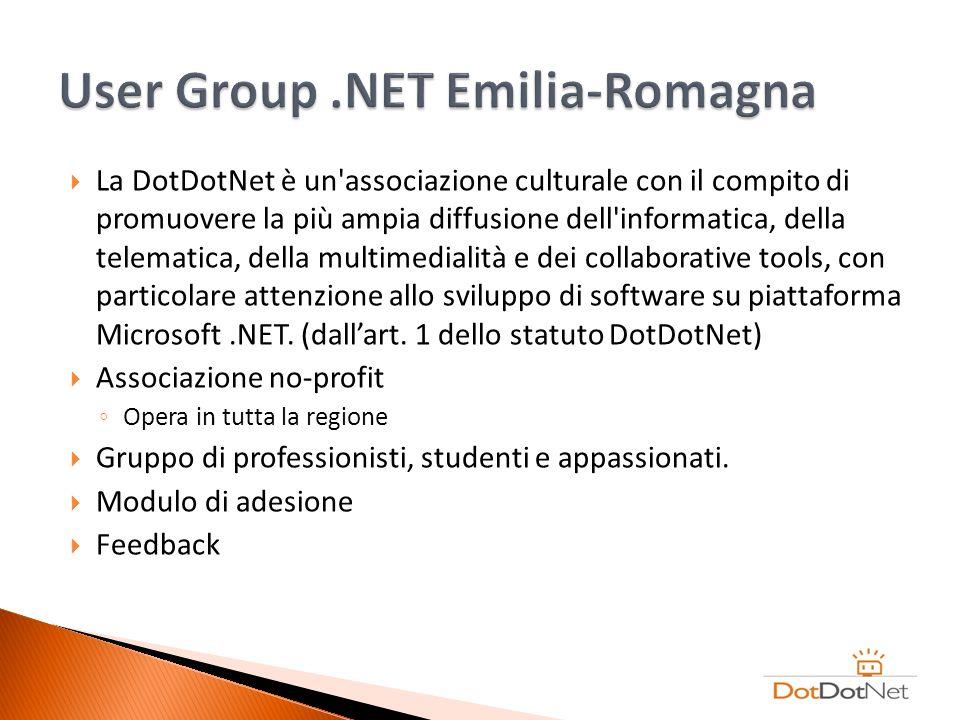 La DotDotNet è un'associazione culturale con il compito di promuovere la più ampia diffusione dell'informatica, della telematica, della multimedialità