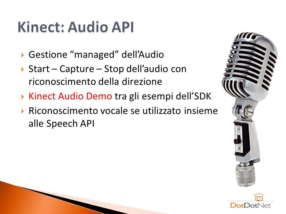 Gestione managed dellAudio Start – Capture – Stop dellaudio con riconoscimento della direzione Kinect Audio Demo tra gli esempi dellSDK Riconoscimento