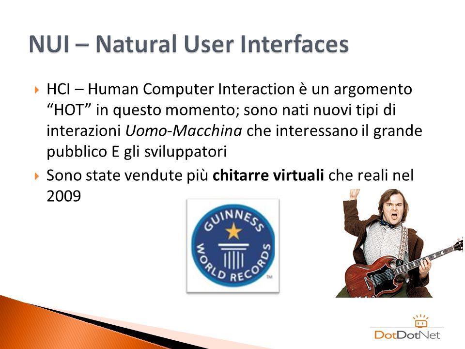 HCI – Human Computer Interaction è un argomento HOT in questo momento; sono nati nuovi tipi di interazioni Uomo-Macchina che interessano il grande pub