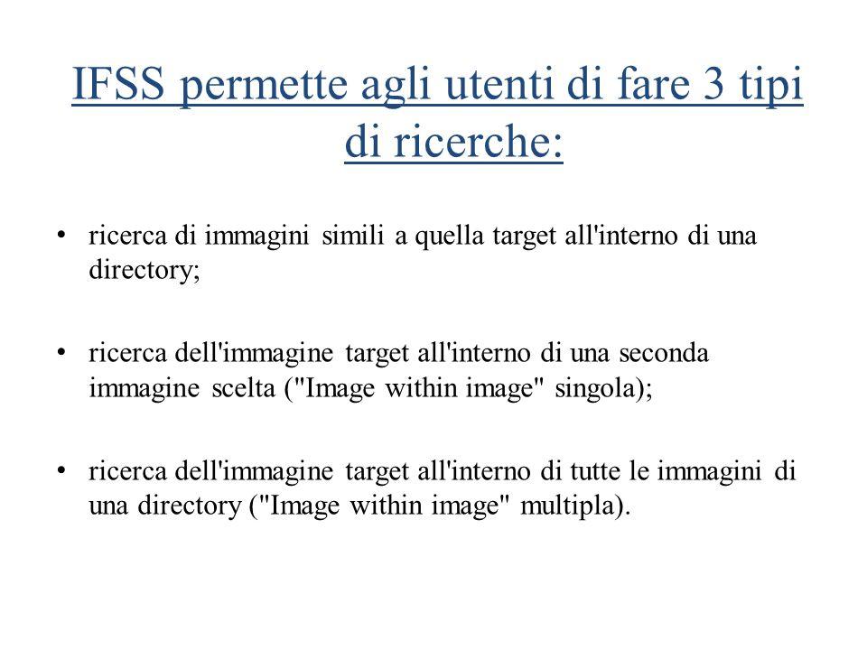 IFSS permette agli utenti di fare 3 tipi di ricerche: ricerca di immagini simili a quella target all'interno di una directory; ricerca dell'immagine t