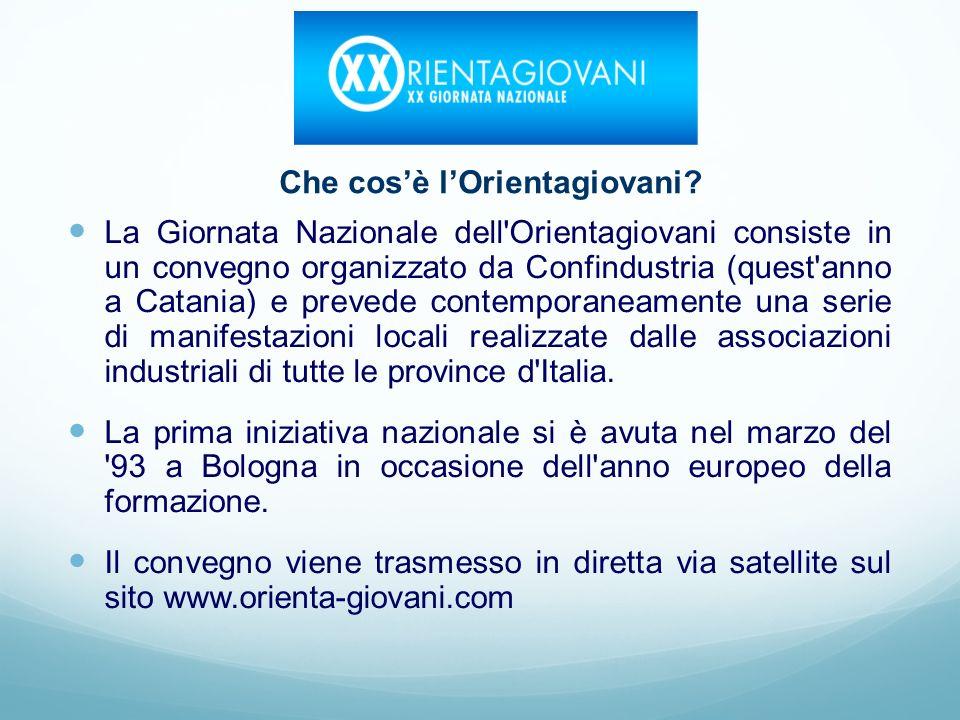 La Giornata Nazionale dell Orientagiovani consiste in un convegno organizzato da Confindustria (quest anno a Catania) e prevede contemporaneamente una serie di manifestazioni locali realizzate dalle associazioni industriali di tutte le province d Italia.