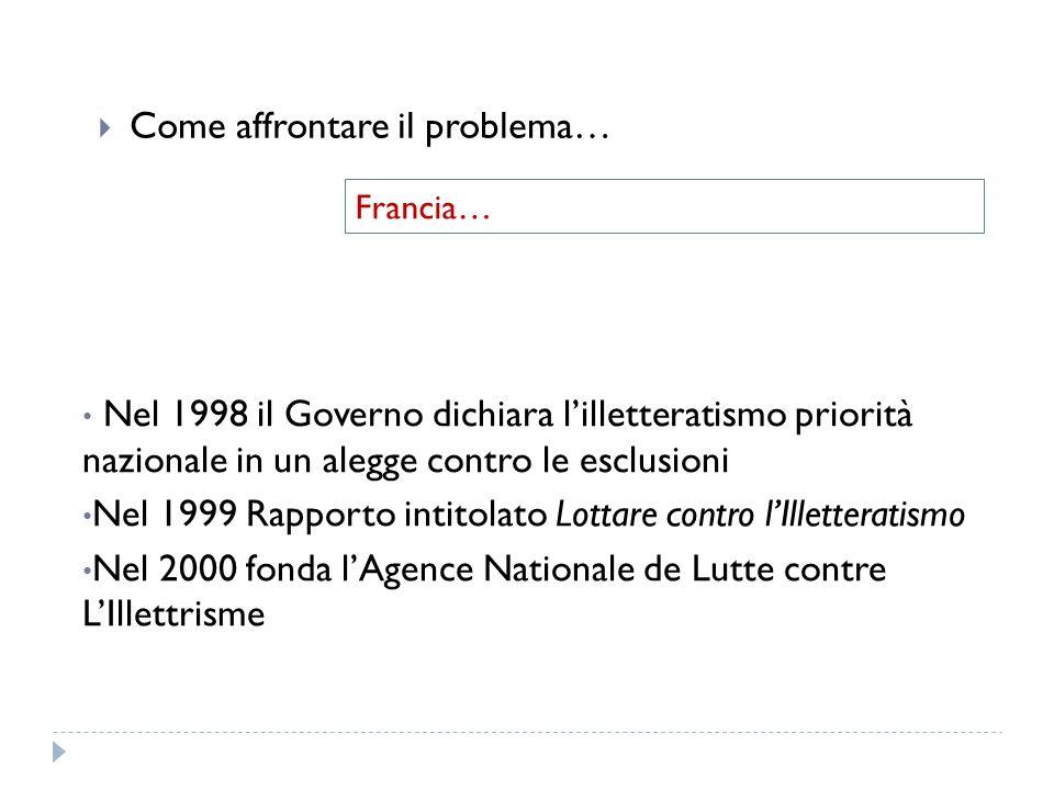 Come affrontare il problema… Francia… Nel 1998 il Governo dichiara lilletteratismo priorità nazionale in un alegge contro le esclusioni Nel 1999 Rappo