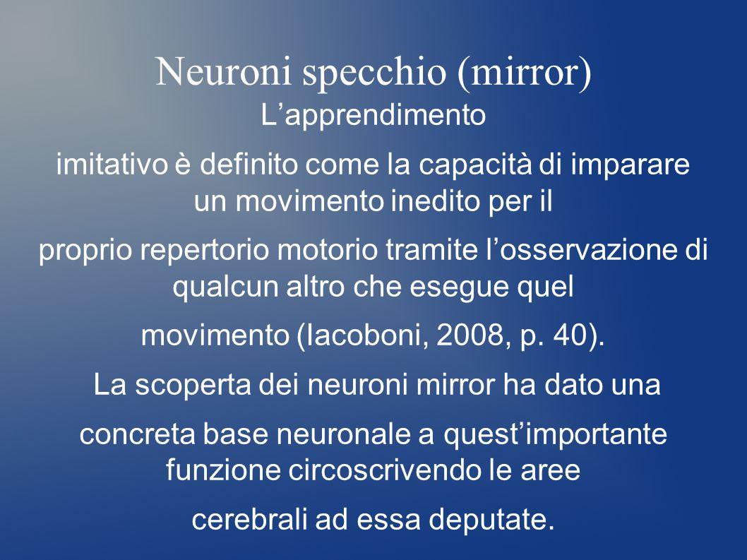 Neuroni specchio (mirror) Lapprendimento imitativo è definito come la capacità di imparare un movimento inedito per il proprio repertorio motorio tram