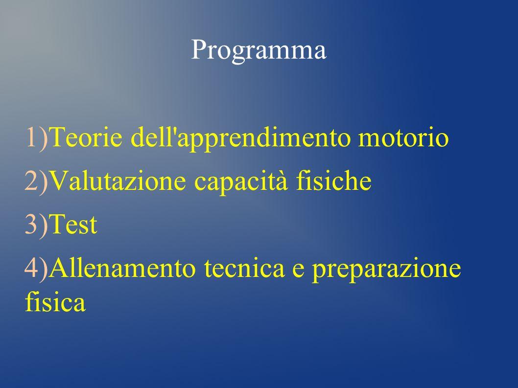 Programma 1) Teorie dell'apprendimento motorio 2) Valutazione capacità fisiche 3) Test 4) Allenamento tecnica e preparazione fisica