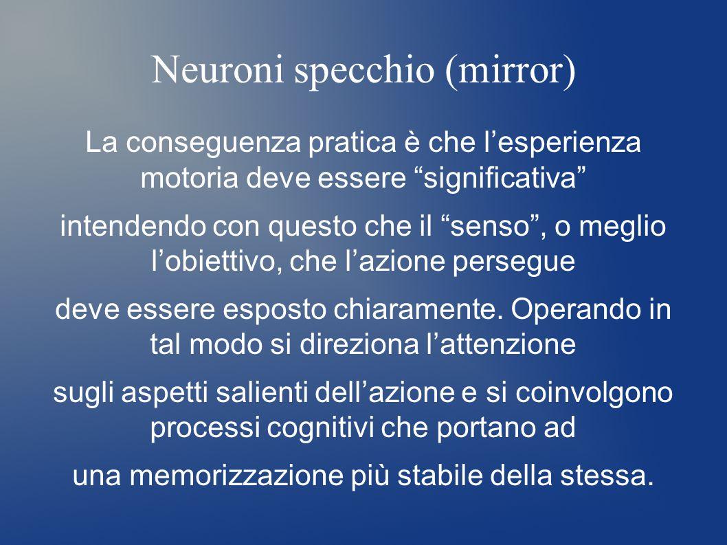 Neuroni specchio (mirror) La conseguenza pratica è che lesperienza motoria deve essere significativa intendendo con questo che il senso, o meglio lobi