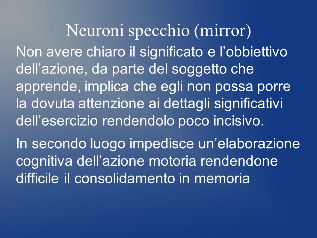 Neuroni specchio (mirror) Non avere chiaro il significato e lobbiettivo dellazione, da parte del soggetto che apprende, implica che egli non possa por