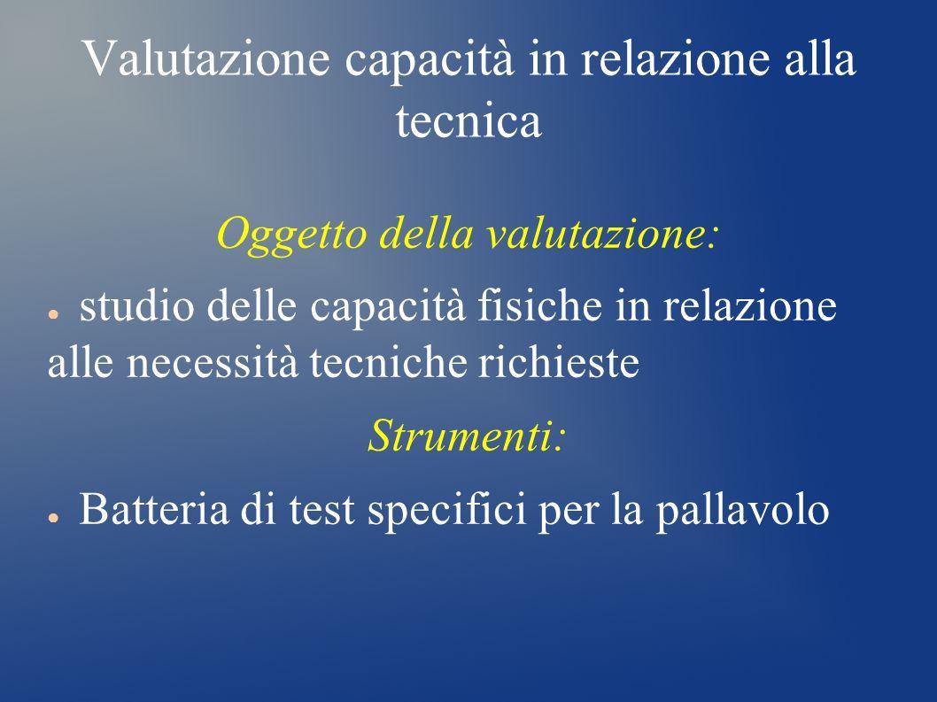 Valutazione capacità in relazione alla tecnica Oggetto della valutazione: studio delle capacità fisiche in relazione alle necessità tecniche richieste