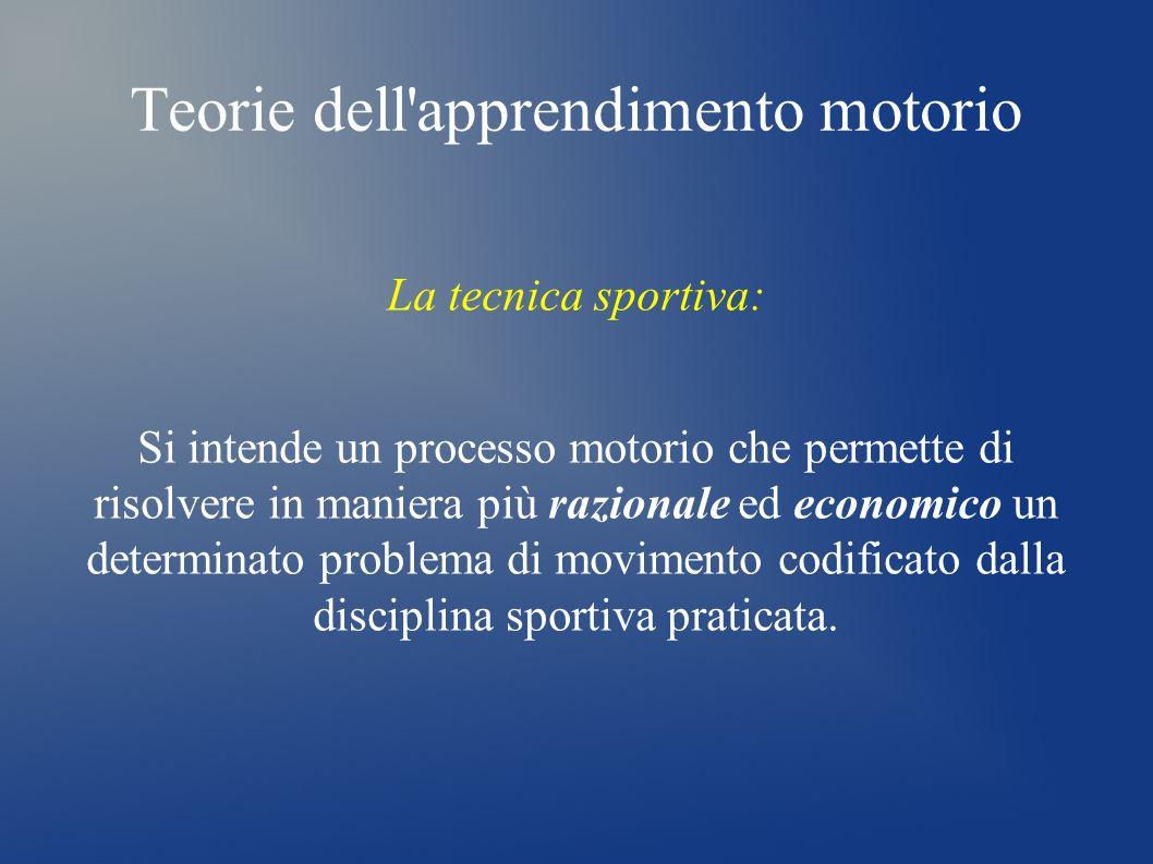 Teorie dell'apprendimento motorio La tecnica sportiva: Si intende un processo motorio che permette di risolvere in maniera più razionale ed economico