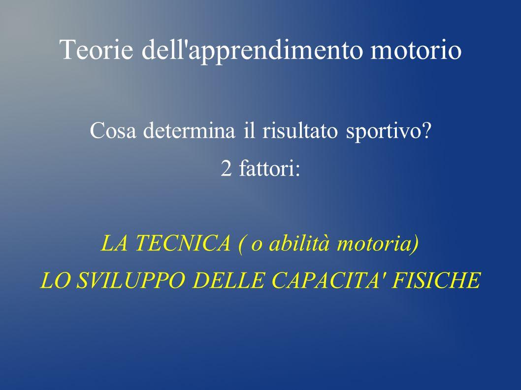Teorie dell'apprendimento motorio Cosa determina il risultato sportivo? 2 fattori: LA TECNICA ( o abilità motoria) LO SVILUPPO DELLE CAPACITA' FISICHE