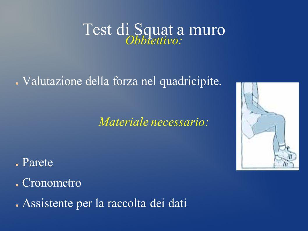 Test di Squat a muro Obbiettivo: Valutazione della forza nel quadricipite. Materiale necessario: Parete Cronometro Assistente per la raccolta dei dati