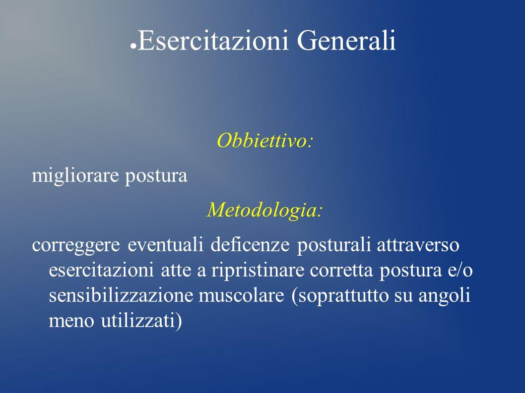 Esercitazioni Generali Obbiettivo: migliorare postura Metodologia: correggere eventuali deficenze posturali attraverso esercitazioni atte a ripristina