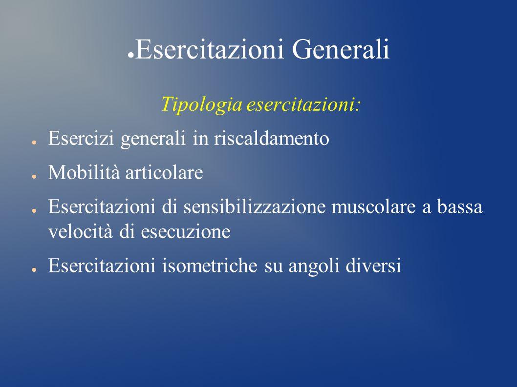 Esercitazioni Generali Tipologia esercitazioni: Esercizi generali in riscaldamento Mobilità articolare Esercitazioni di sensibilizzazione muscolare a